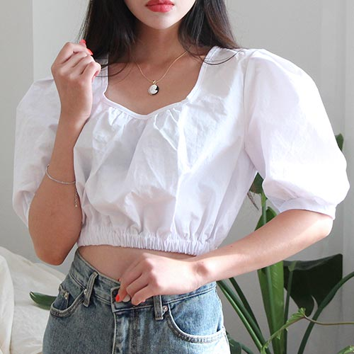 banding crop blouse (2 colors)