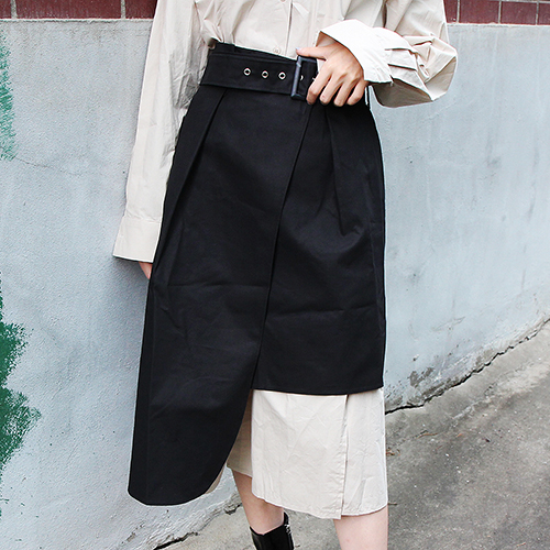 wrap unbalance belt skirt (beige only)