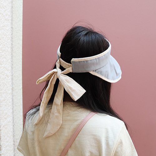 back ribbon cotton sun cap (only navy!)