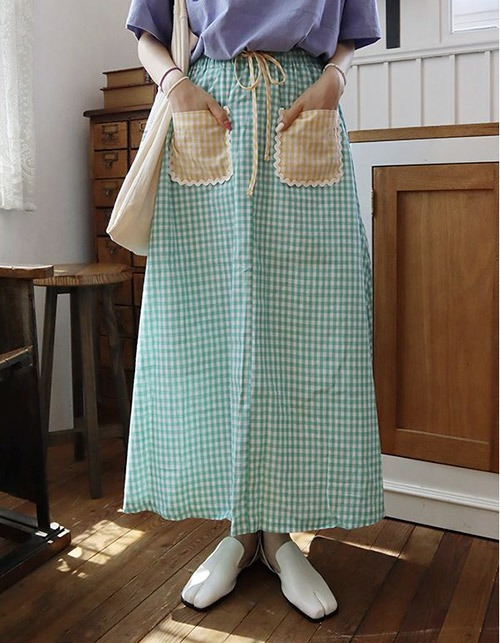 wave pocket check long skirt (only pink!)