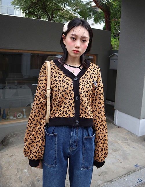 leopard short cardigan
