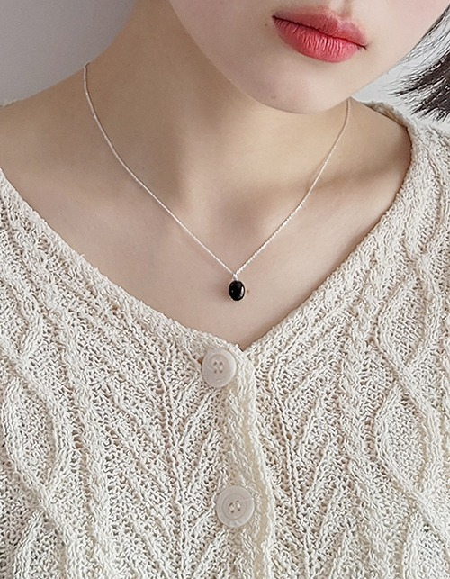 [925 silver]simple gemstone necklace (2types)
