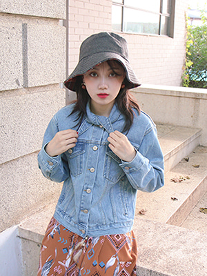 ribbon denim jacket (2 colors)