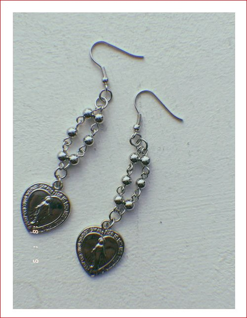 [ROWKY MADE]heart rosario drop earrings