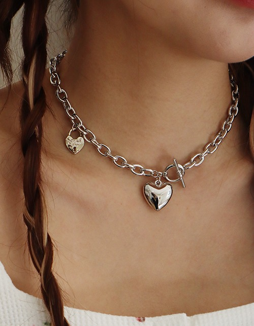 heart lock bold chain necklace
