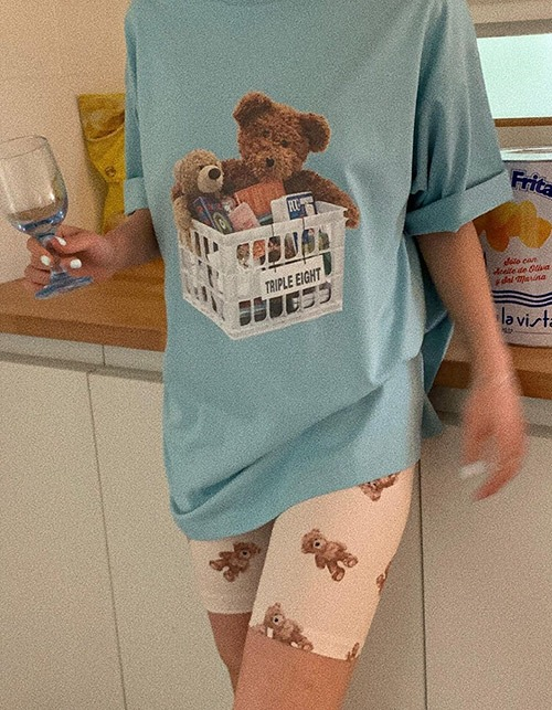 basket + teddy bear T-shirts (2 colors)