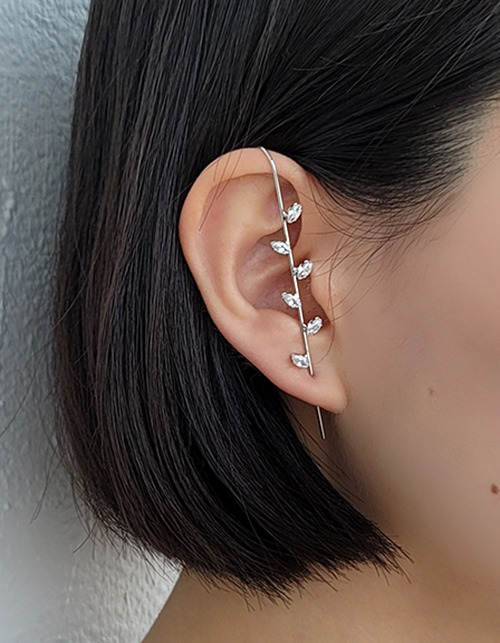 cubic leaf pass through earring